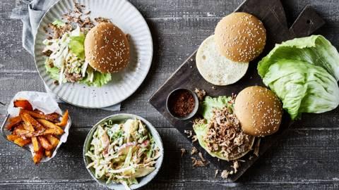 Pulled pork-burger med hokkaidostave
