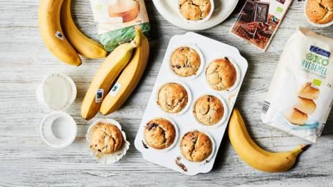 Bananmuffins med chokoladestykker