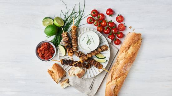 Grillspyd med Tomat-chilidip