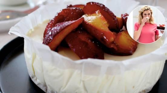 Cheeesecake med calvados og bagte blommer
