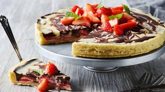 Jordbærtærte med chokoladecreme
