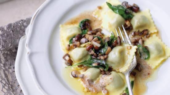 Ravioli med champignon-baconfyld