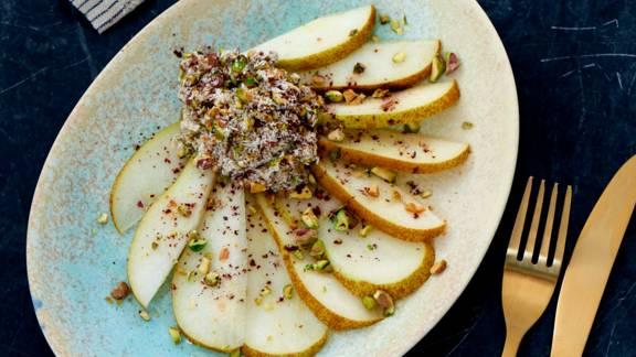 Pære-carpaccio med honning og nødder