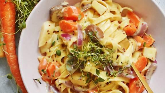 Frisk pasta med rodfrugter