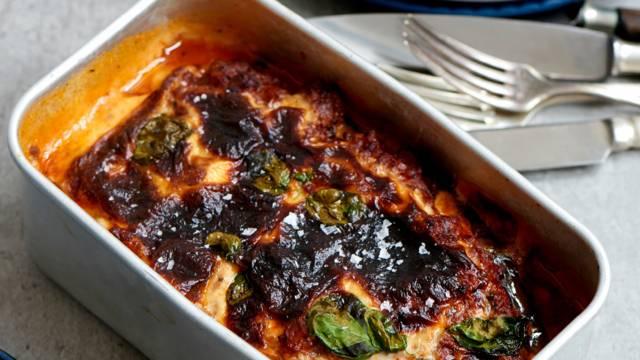 Aubergine-lasagne