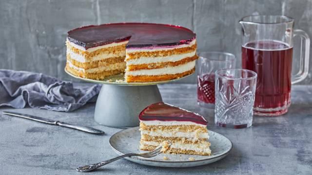 Cheesecake-lagkage med ribena-gelé