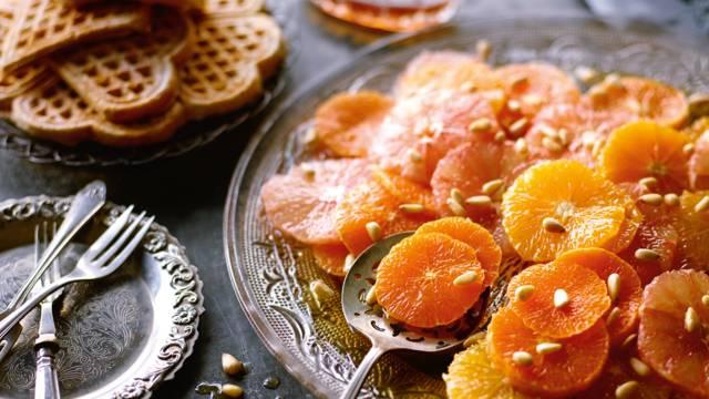 Kanelvafler med carpaccio af citrusfrugter