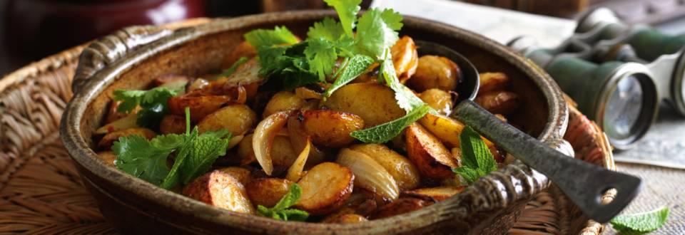 Kartofler og auberginer i ovnen på nordafrikansk stil