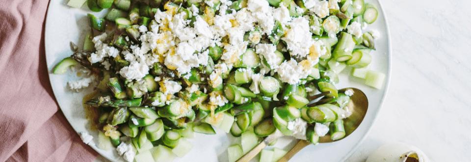 Sommersalat med melon, asparges og feta