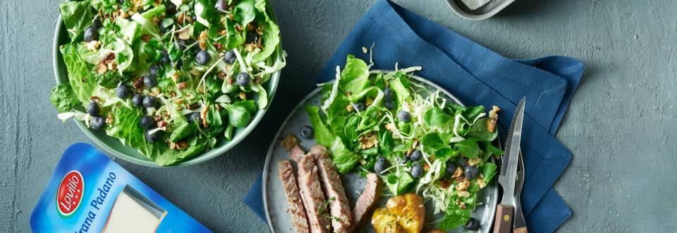Rib eye med knuste kartofler og salat