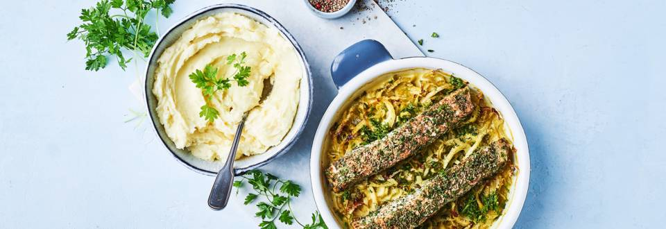 Bagt laks på fennikelgrøntsager
