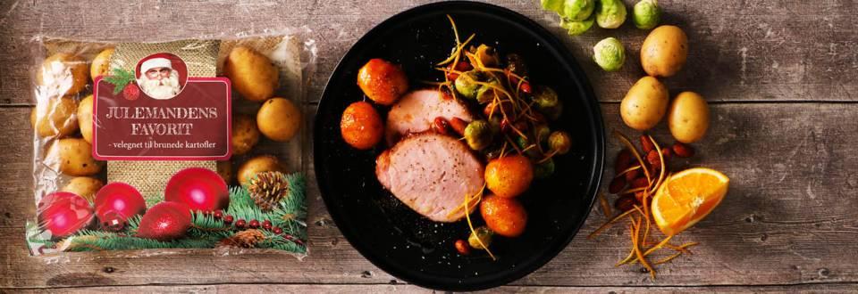 Glaseret hamburgerryg med brunede kartofler og orangeglaserede rosenkål