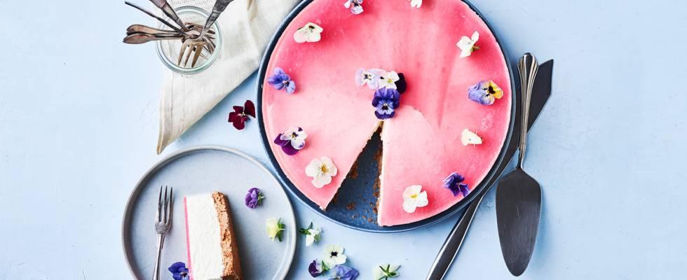 Rabarbercheesecake med hvid chokolade
