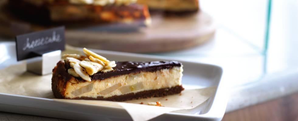 Chokolade- og banan-cheesecake