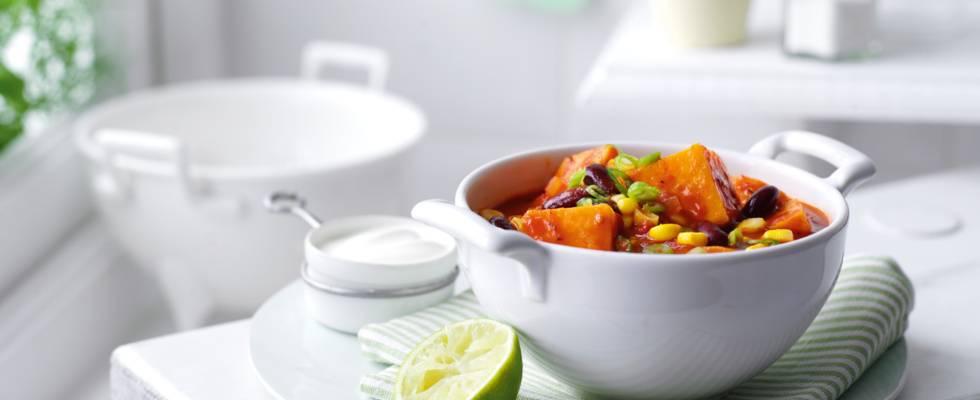 Vegetarisk chili med sødekartofler